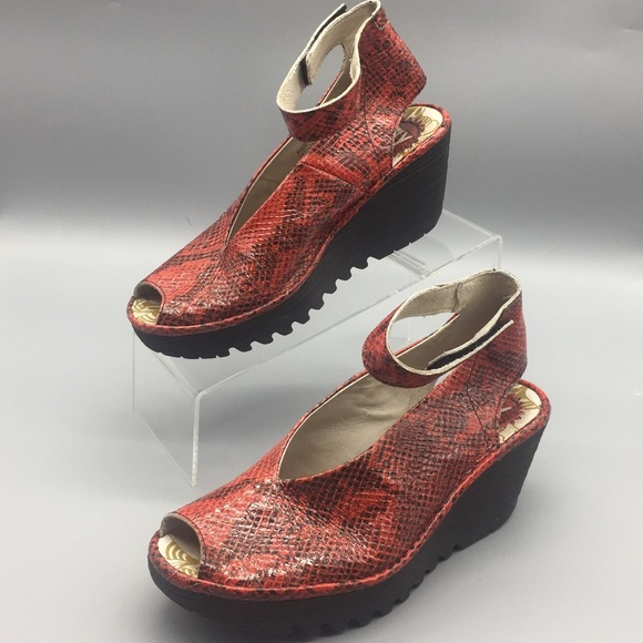 2269efcf83f Fly London Shoes - FLY London Women Yala Red Snake print Wedge Sandal